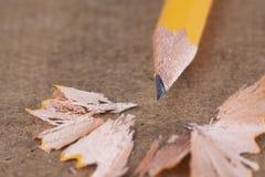 黄色铅笔削片 库存照片