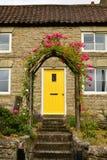 黄色门,安置桃红色玫瑰 图库摄影