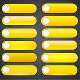黄色高详细现代万维网按钮。 库存照片