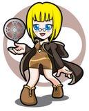 黄色魔术比赛女孩 免版税图库摄影