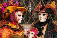 黄色黑威尼斯面具 免版税图库摄影