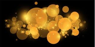 黄色bokeh 圈子光bokeh背景摘要  背景金黄光 圣诞灯概念 向量 向量例证
