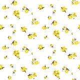 黄色florals无缝的传染媒介样式 皇族释放例证