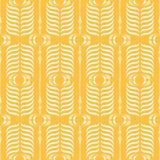 黄色Ogee背景传染媒介无缝的样式 现代经典几何样式 单色羽毛印刷品 库存例证