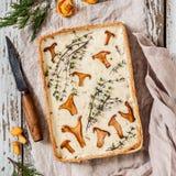 黄蘑菇和麝香草馅饼 图库摄影