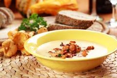 黄蘑菇奶油色蘑菇汤 免版税库存照片