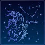 黄道带标志山羊座美女 山羊座的星座 抽象例证闪电夜空 占星 吃 向量 向量例证