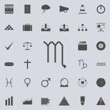 黄道带蝎子毁损象 详细的套minimalistic象 优质质量图形设计标志 其中一个汇集象 向量例证