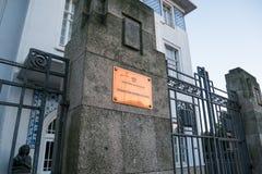 黄铜匾波尔图外,葡萄牙音乐音乐学院  免版税库存图片