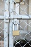 黄铜挂锁和金属门 库存照片