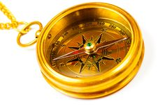 黄铜指南针老牌 免版税图库摄影