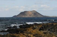 黄雀色费埃特文图拉岛海岛 库存照片