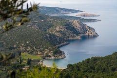 黄雀色gomera海岛海岛横向被看见的tenerife 免版税图库摄影
