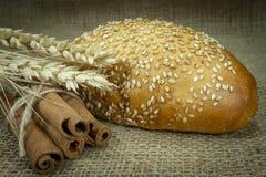 黄麻织品表面上的唯一芝麻小圆面包 免版税库存图片