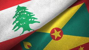黎巴嫩和格林纳达两旗子纺织品布料,织品纹理 库存例证