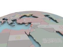 黎巴嫩的政治地图地球的与旗子 免版税库存照片