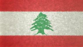 黎巴嫩的旗子的原始的纹理3D图象 免版税库存图片