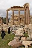 黎巴嫩, 2011年2月14日, -巴勒贝克-古老腓尼基城市废墟  免版税库存照片