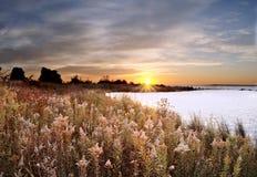 黎明休伦湖湖 免版税库存图片