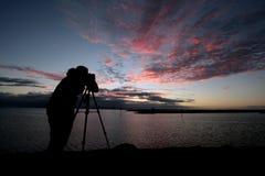 黎明摄影剪影 库存照片