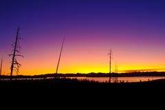 黎明早期的湖全景黄石 免版税库存图片