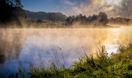 黎明有薄雾的河 库存图片
