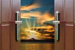 黎明门开放海洋加勒比多米尼加共和国 免版税库存照片