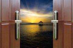 黎明门开放海洋加勒比多米尼加共和国 图库摄影