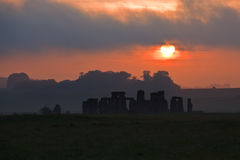 黎明stonehenge 库存照片