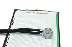 黏合剂查出的听诊器白色 免版税库存照片