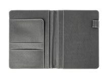 黏合剂笔记本开放皮革盖子  免版税库存图片