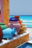 黏土五颜六色的罐 库存图片