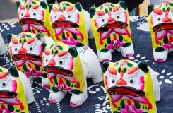 黏土小雕象老虎玩具 免版税库存照片