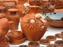 黏土手工制造罐讨论会 免版税库存图片