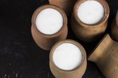 黏土水罐用酸奶 库存图片