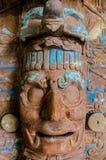 黏土的古老玛雅面孔 免版税库存照片