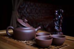 黏土茶具 免版税库存图片