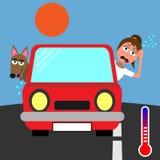 黏附他们的头在红色汽车外面和冒汗在酷暑的妇女和狗 向量例证