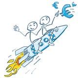 黏附在火箭和飞行欧元的图 库存图片