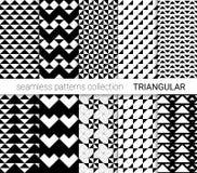 黑三角无缝的样式的汇集 库存例证