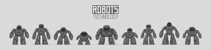 黑不同的机器人背景  向量例证