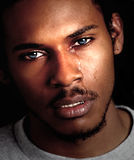 黑人哭泣的人 免版税图库摄影
