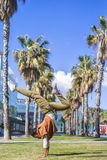 黑人妇女,非洲的发型,做瑜伽asana在散步的棕榈下 免版税库存照片