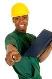 黑人建筑工人 免版税库存照片