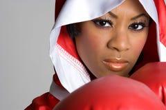 黑人拳击女孩 免版税库存图片
