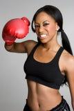 黑人拳击手妇女 免版税库存图片