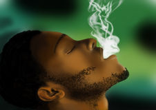黑人烟抽烟 免版税库存图片