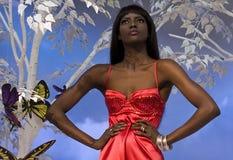 黑人红色妇女 免版税库存照片