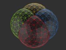 黑低多球形-红色,绿色黄色和蓝色 库存图片