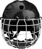 黑冰与笼子的曲棍球盔甲,被隔绝  免版税图库摄影